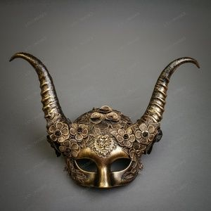 Evil Witch Gothic Horn Lace Women Mask -Black Gold